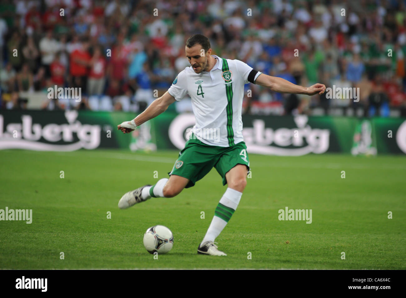 18.06.2012 , Poznan, Poland. John O'Shea (Sunderland AFC) in action for Rep of Ireland during the European Championship - Stock Image