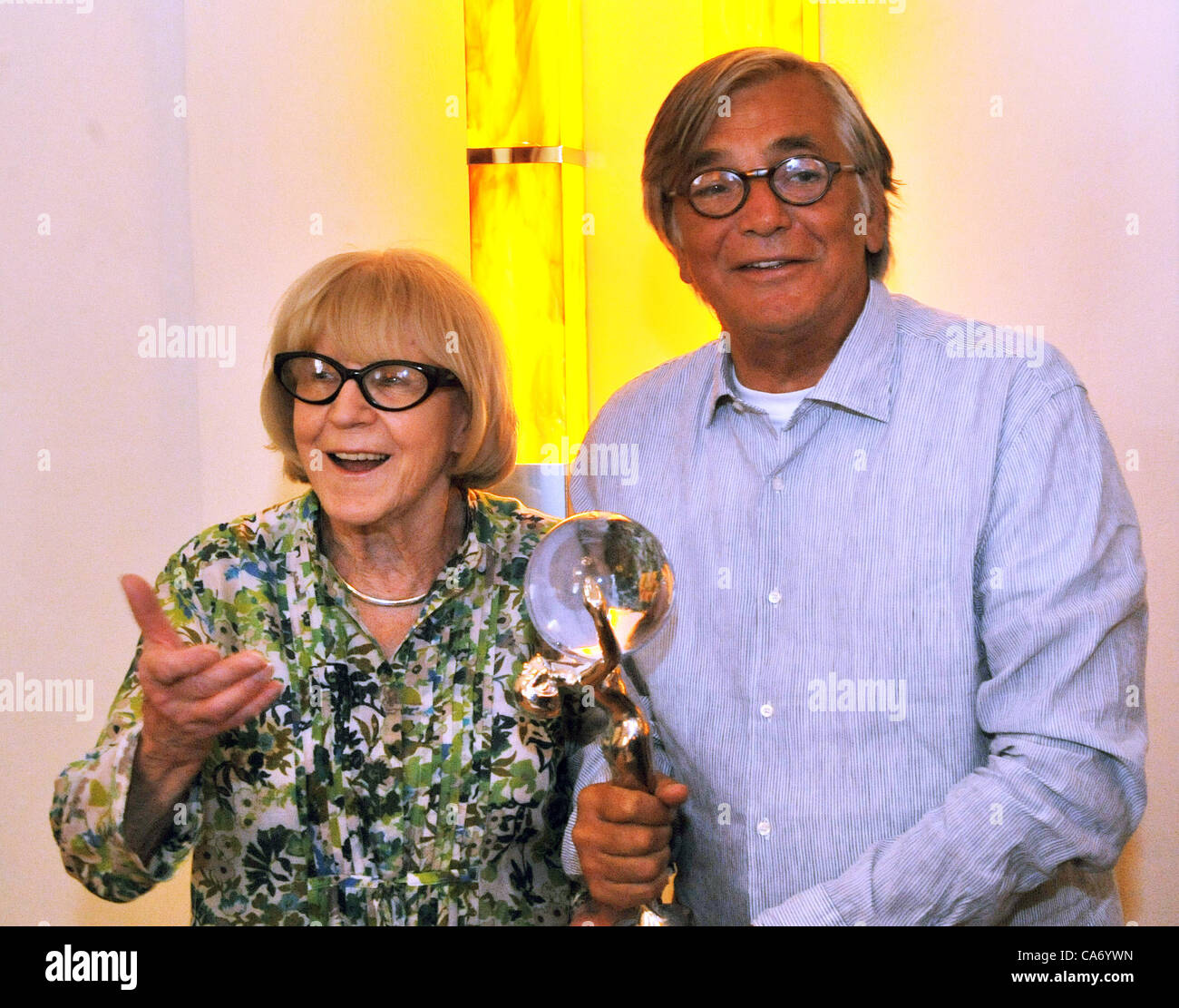 Jiri Bartoska, president of the International Film Festival Karlovy Vary and artistical advisor Eva Zaoralova pictured - Stock Image