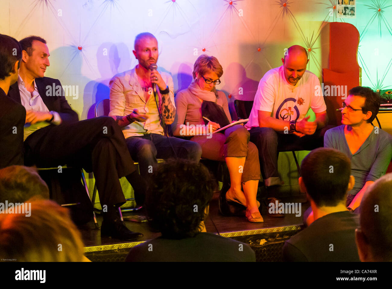 Paris, France, AIDS Crisis, Gay Men's Prevention Strategy Public Meeting, panel of speakers PrEP, IPERGAY, 'Pre - Stock Image