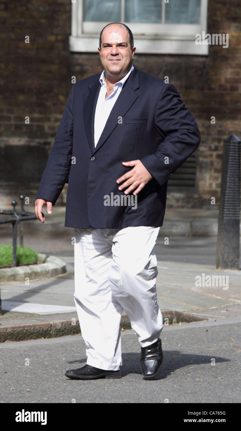 London - Founder of Easyjet, Stelios Haji-Ioannou visiting10 Downing Street, London - June 20th 2012  Photo by Keith - Stock Image
