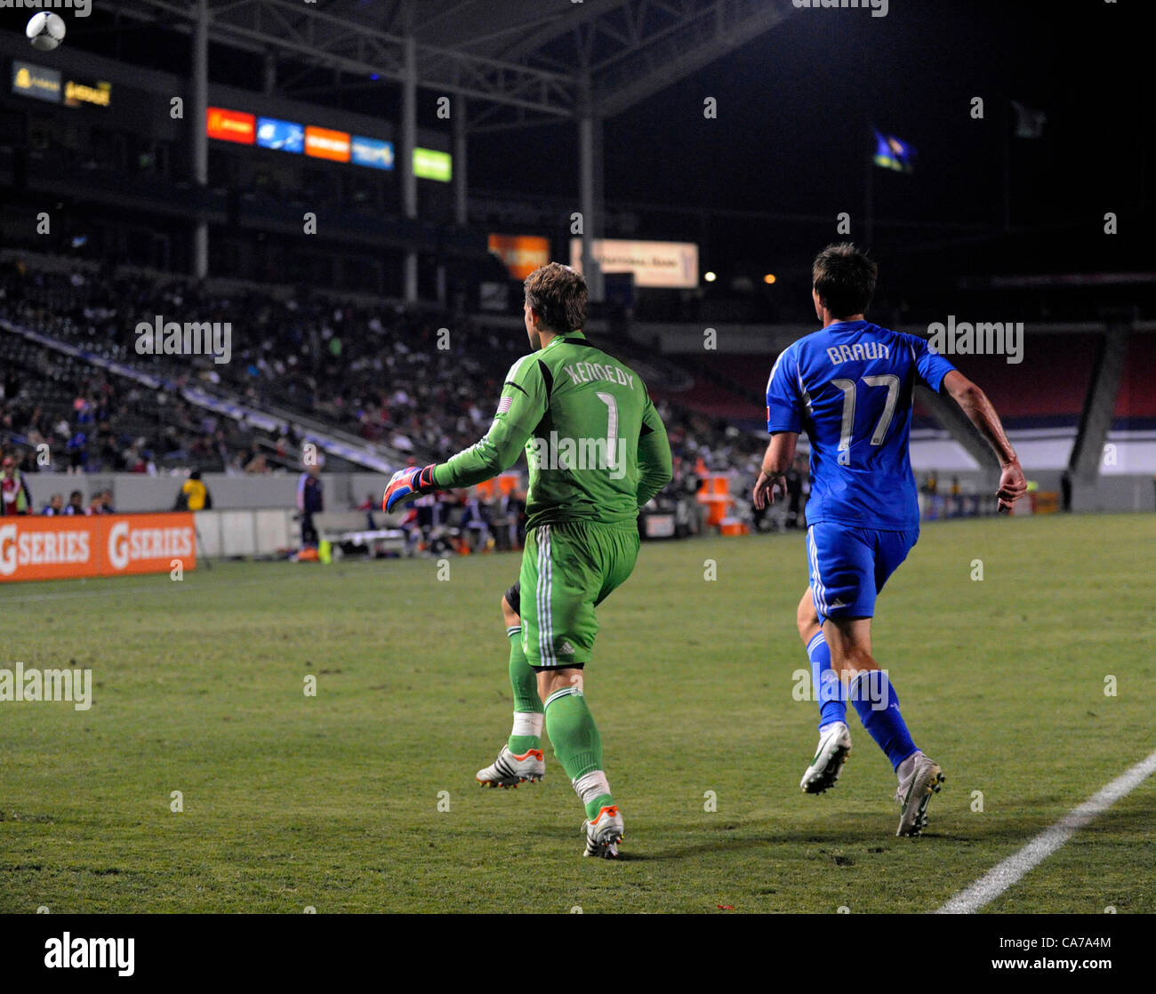 June 21, 2012 - Carson, California, USA - Major League Soccer-CHIVAS USA goal keeper DAN KENNEDY and Montreal forward - Stock Image