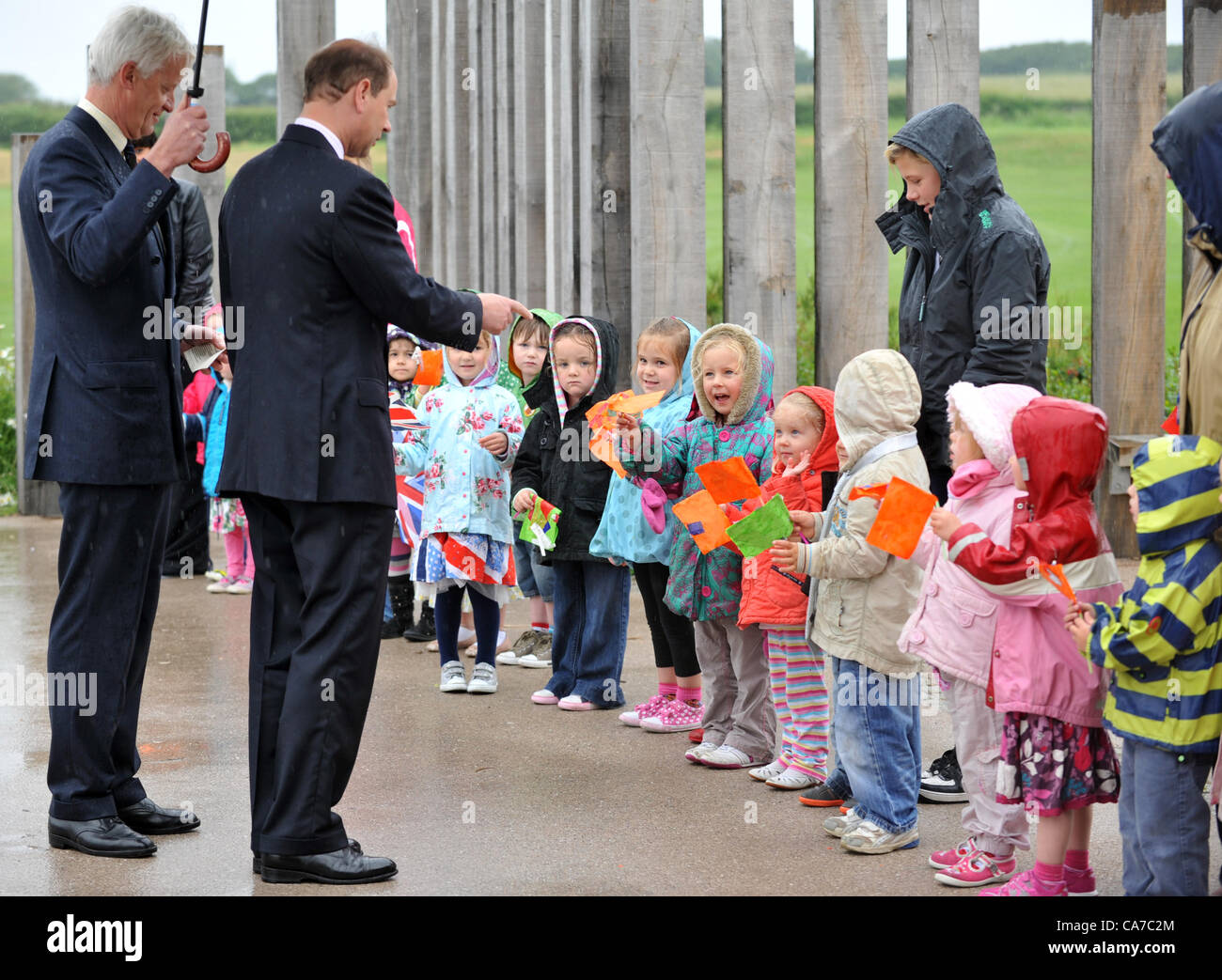 Prince Edward, Earl of Wessex, officially opens the new Budmouth College at Weymouth, Dorset, Britain. Meeting a - Stock Image