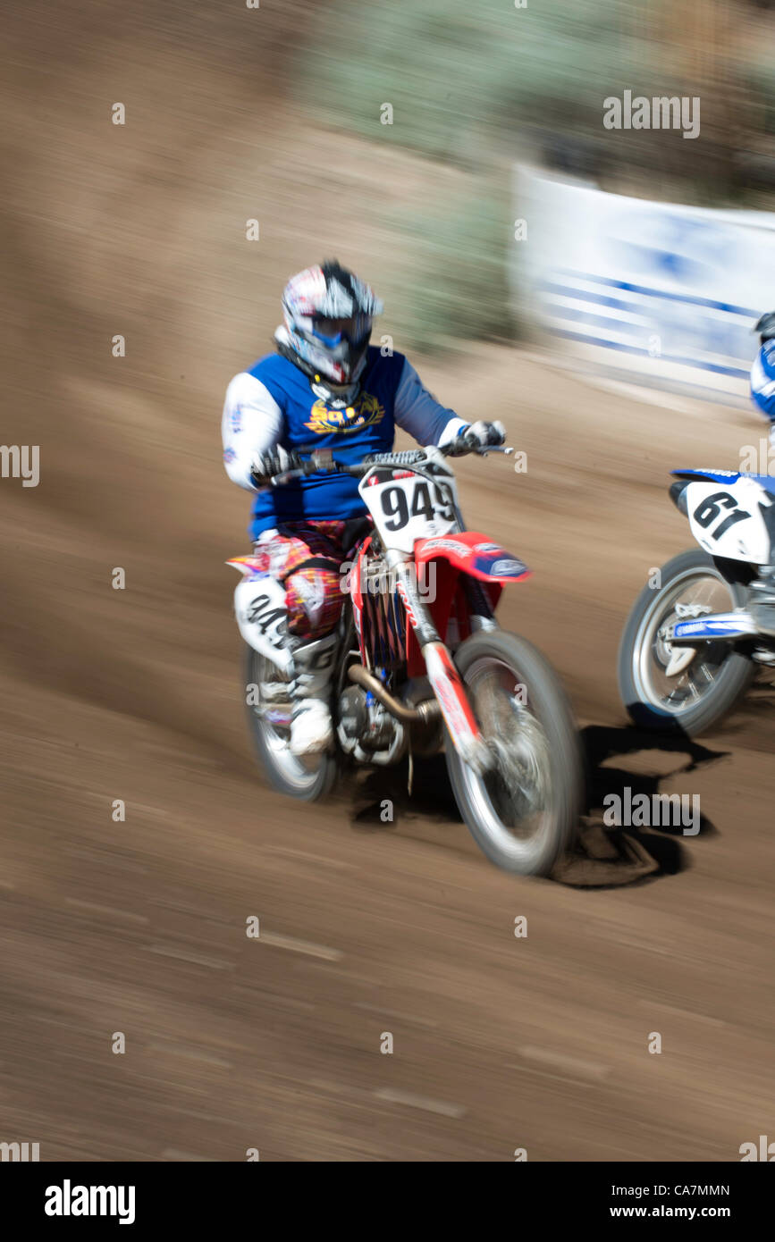 Motocross Racing on Dirt Track - Stock Image