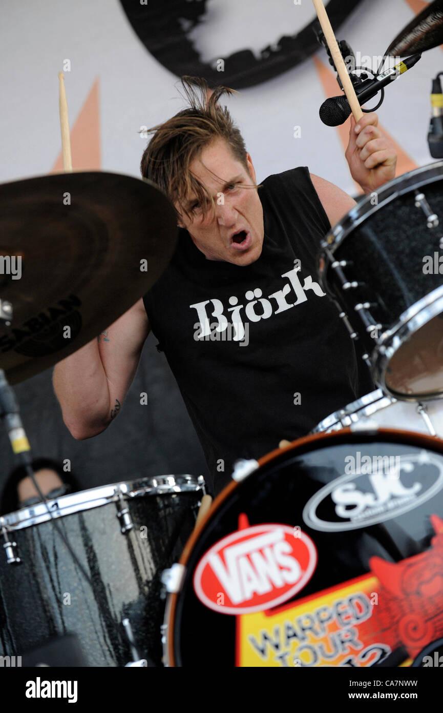 June 23, 2012 - Pomona, California, USA - Musician-SEAN FRIDAY, drummer for the Dead Sara, performing live at Van's - Stock Image