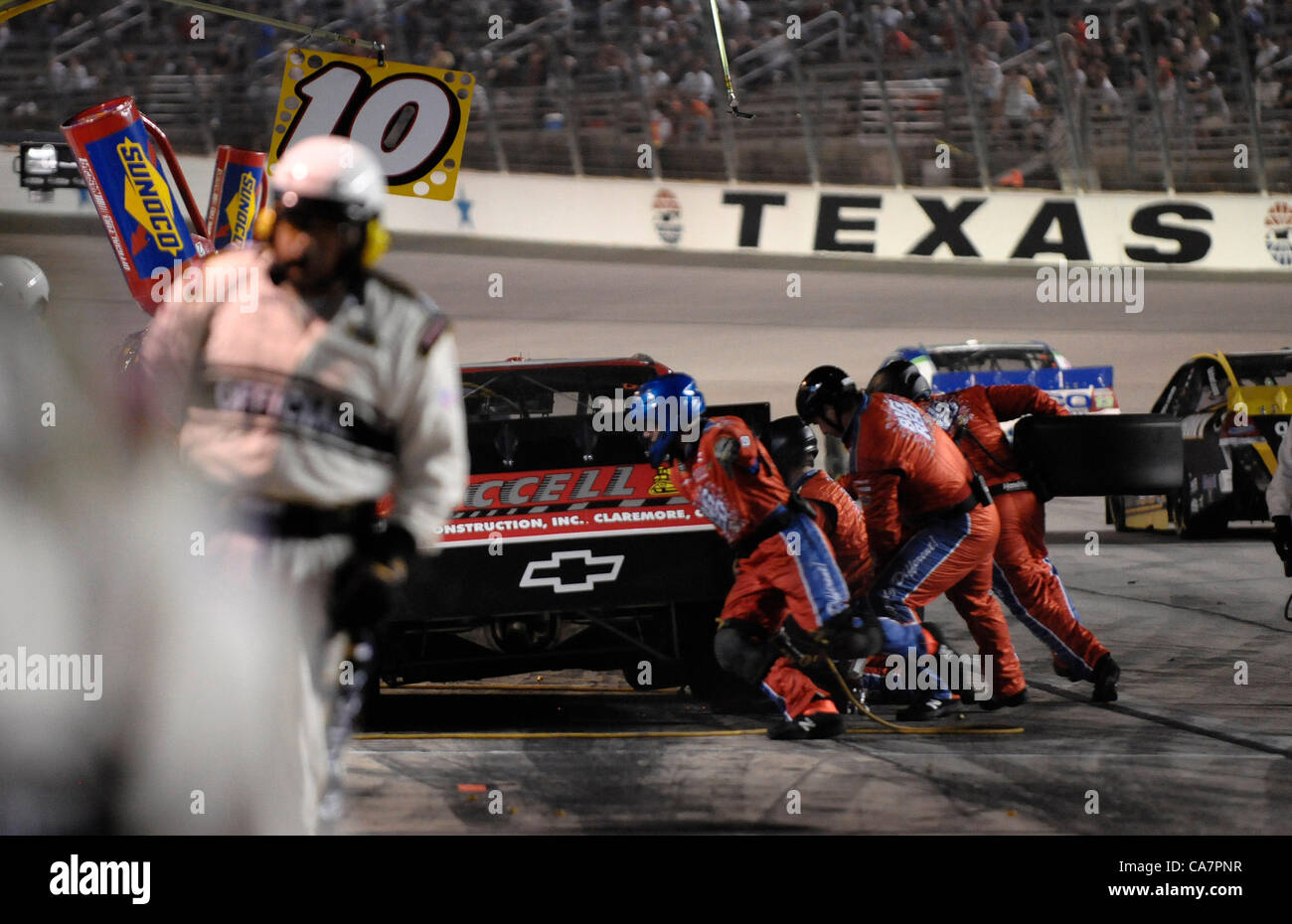 April 14, 2012 - Fort Worth, TX, USA - April 14, 2012 Ft. Worth, Tx. USA. Pitstops during the NASCAR Sprint Cup Stock Photo
