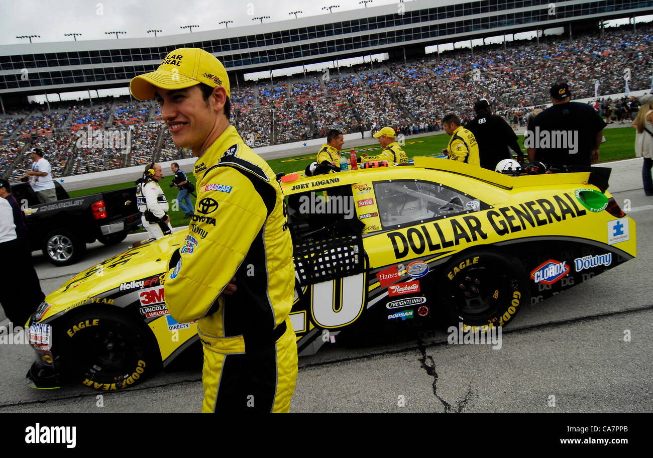 April 14, 2012 - Fort Worth, TX, USA - April 14, 2012 Ft. Worth, Tx. USA. Joey Logano before the NASCAR Sprint Cup Stock Photo