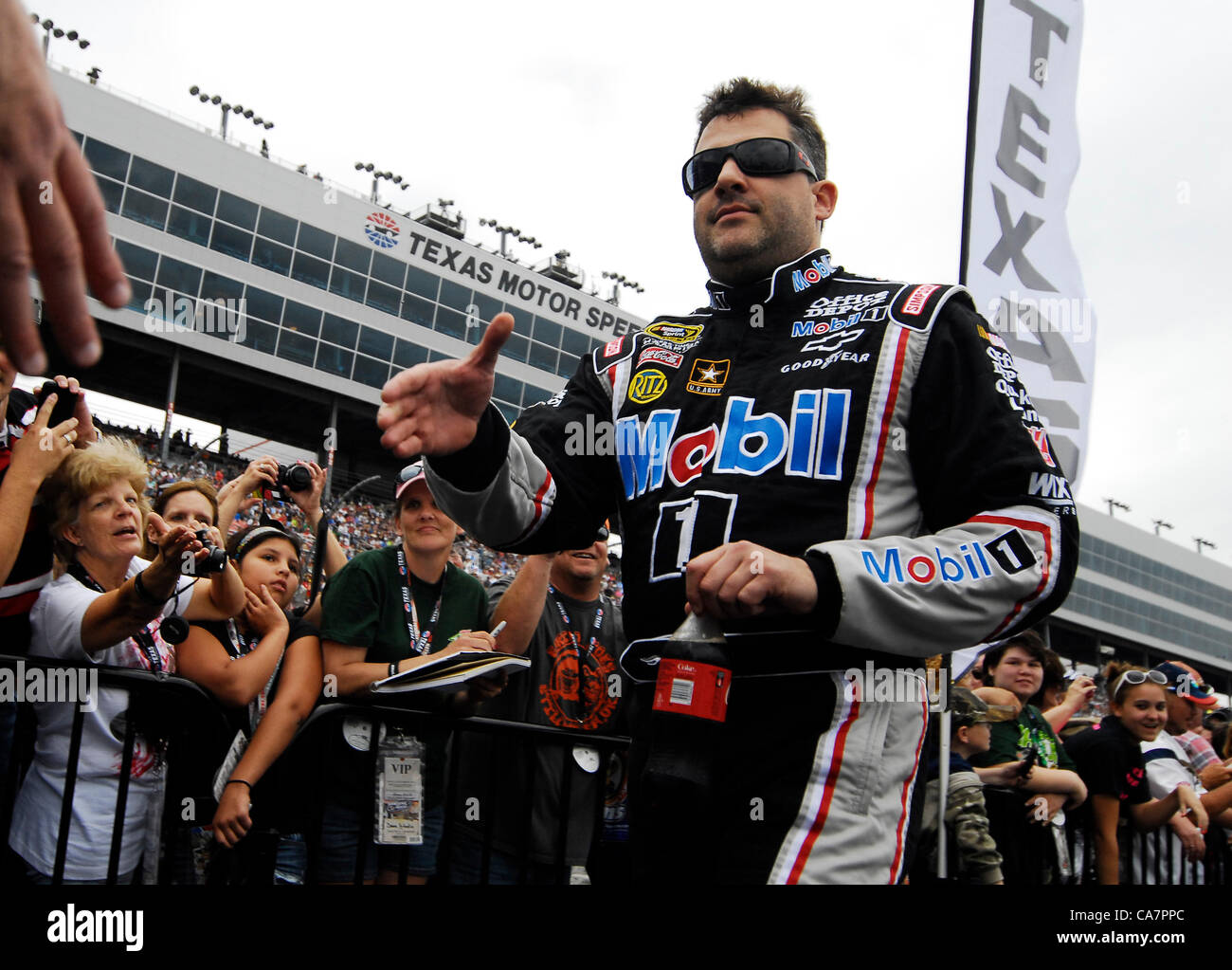 April 14, 2012 - Fort Worth, TX, USA - April 14, 2012 Ft. Worth, Tx. USA. Tony Stewart before the NASCAR Sprint Stock Photo