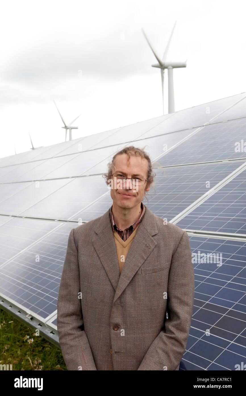 Westmill. Watchfield nr Swindon, UK. Saturday 23rd June 2012. Westmill energy farm .  Director  Adam Twine  farm - Stock Image