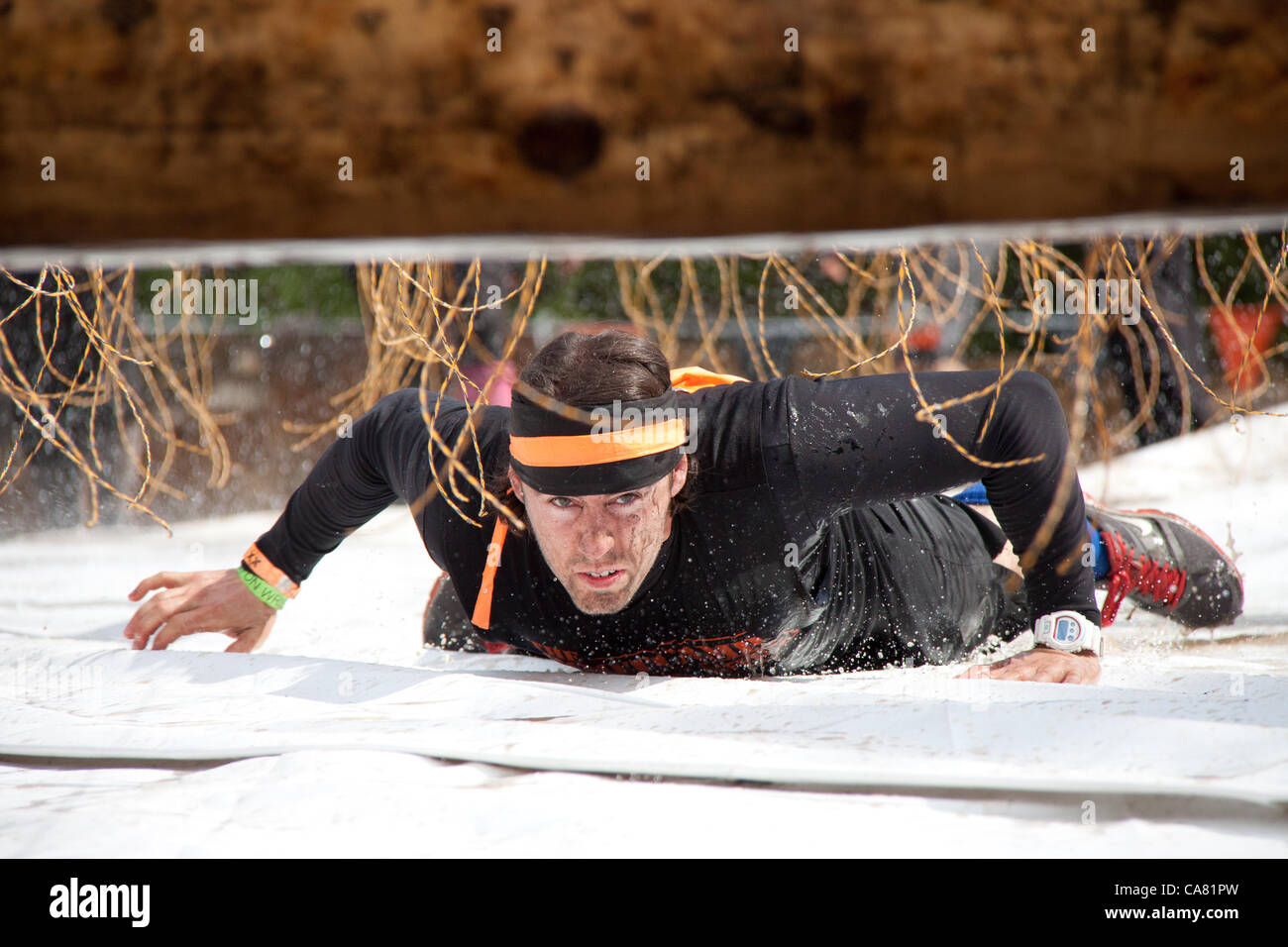 June 23, 2012. Participants compete in the Tough Mudder event, known as the premier obstacle course series in the - Stock Image