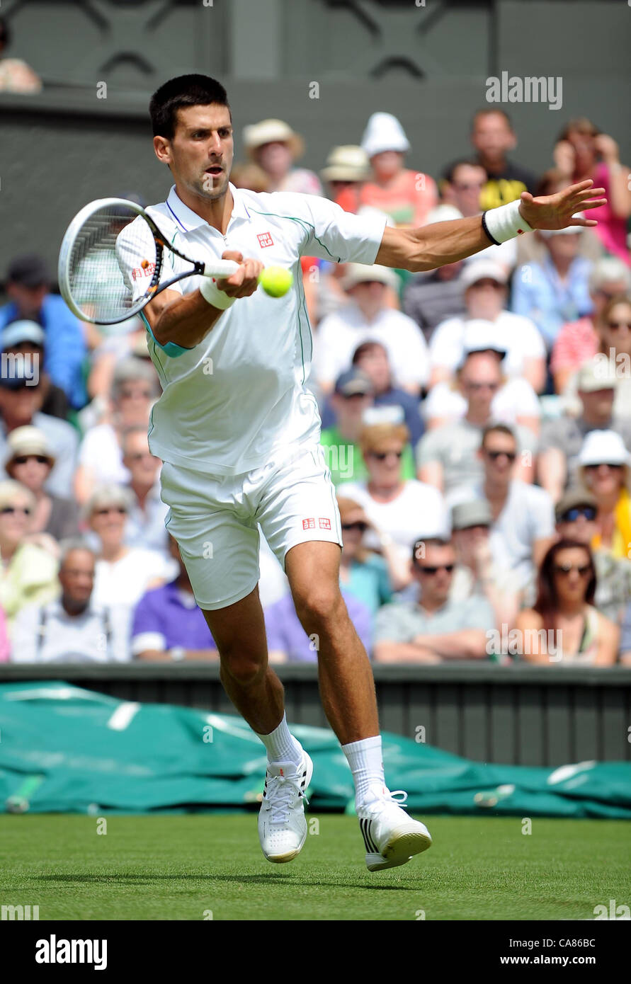 NOVAK DJOKOVIC SERBIA THE ALL ENGLAND TENNIS CLUB WIMBLEDON LONDON ENGLAND 25 June 2012 - Stock Image