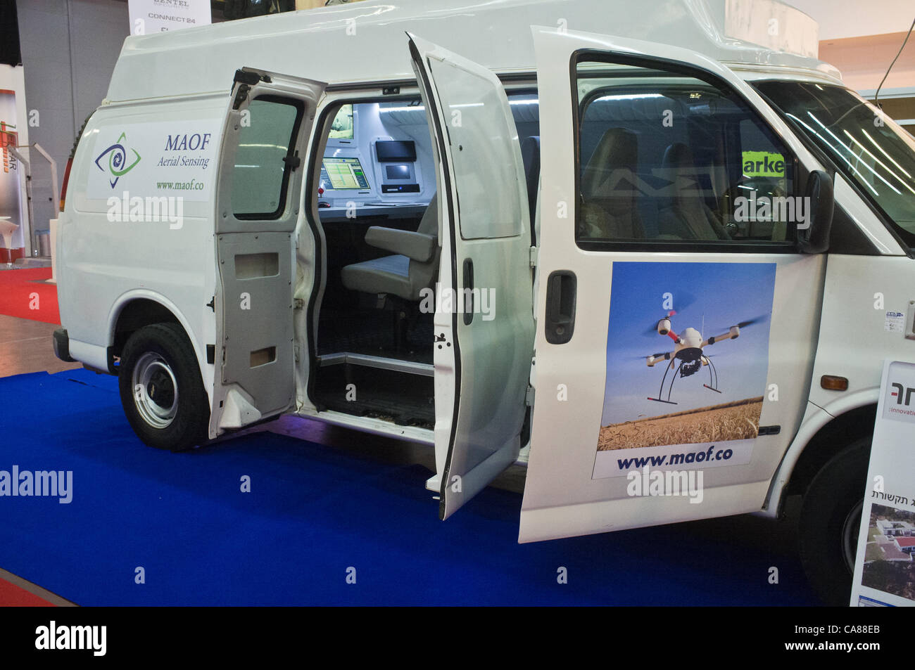 Maof Aerial Sensing displays a command and control van for unmaned drones carrying video surveillance equipment Stock Photo