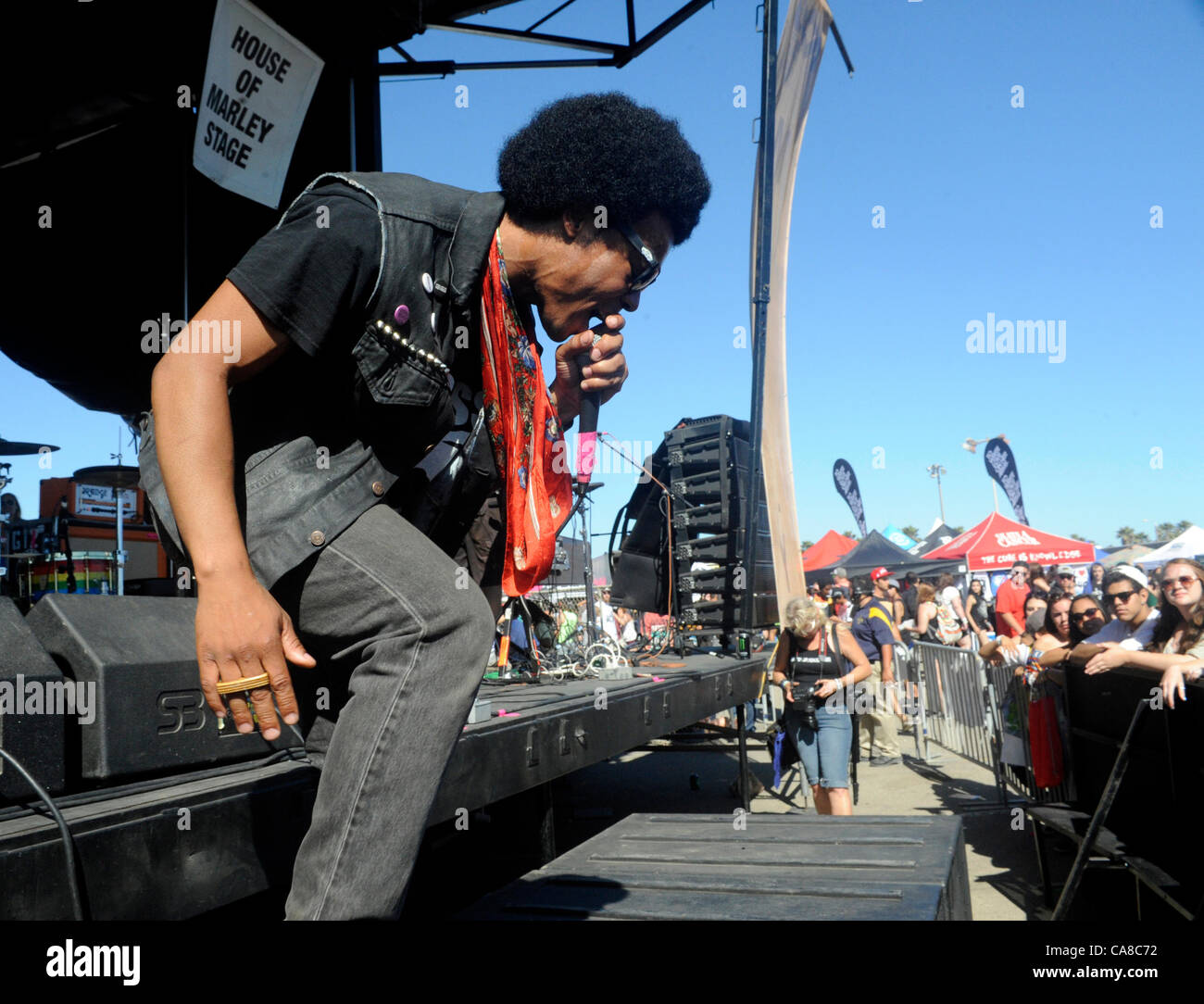 June 25, 2012 - Ventura, California, USA - Musician-CHAMPAGNE CHAMPAGNE performing on the Bob Marley Stage at Vans - Stock Image