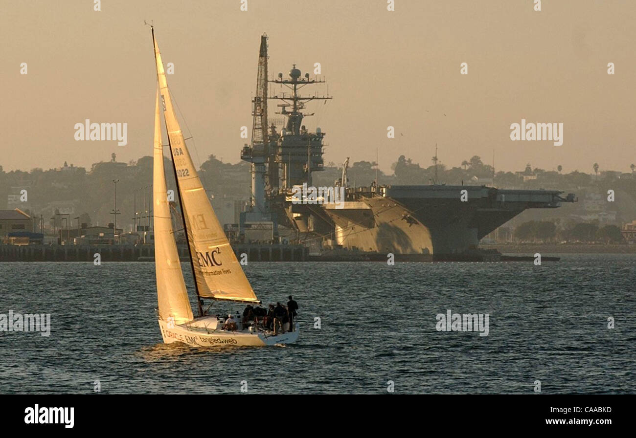 The USS Stennis is being retrofitted on Coronado as a sail