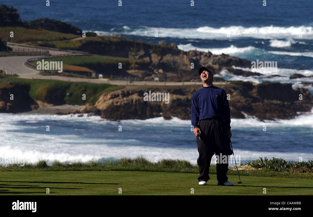 Arron Oberholser laughs before teeing his ball on the 4th hole of Spyglass Hill during the AT&T Pebble Beach - Stock Image