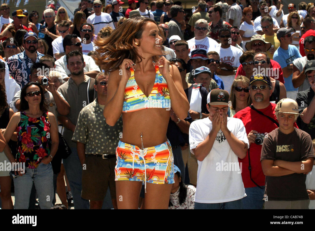 89269dd1d Nicole Sharp (cq) models an outfit during the annual Swimsuit Fashion Show  at the