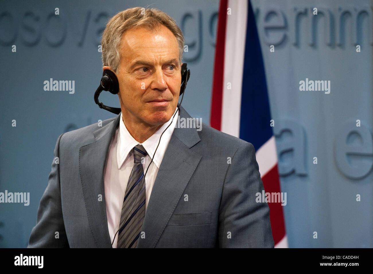 July 08, 2010 - Pristina, Pristina, Kosovo - Britain's former prime minister TONY BLAIR during the press conference Stock Photo
