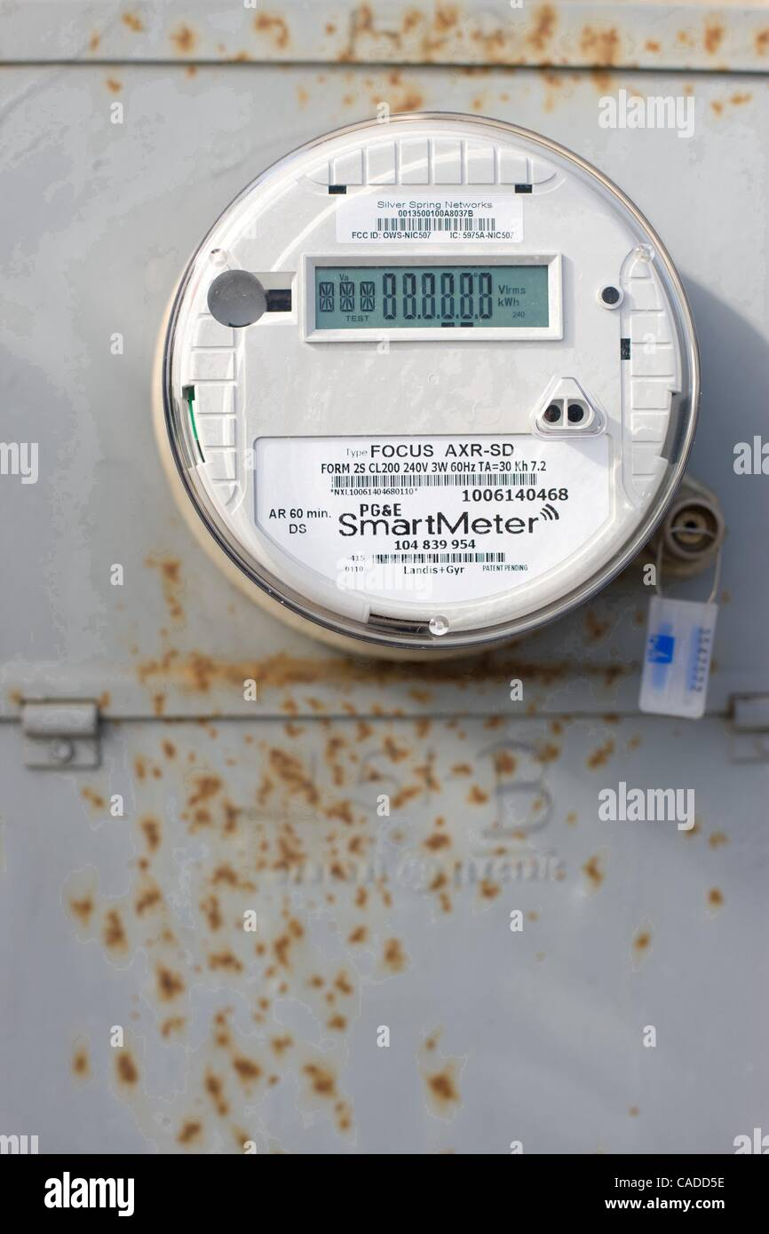 Jul 13, 2010 - Sunnyvale, California, U.S. - Smart electricity meter installed in Sunnyvale California by Pacific - Stock Image