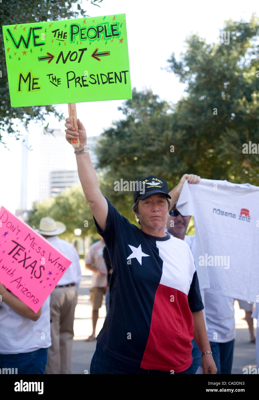 Aug 09, 2010 - Austin, Texas, U.S - Tea Party members gather at State Capitol to protest President Obama. (Credit Stock Photo