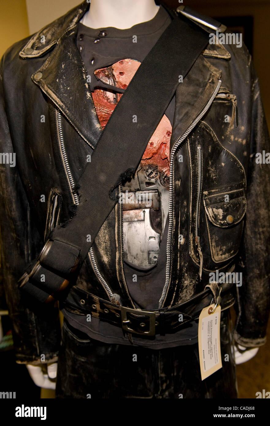 June 8, 2010 - Calabasas, California, USA -   Arnold Schwarzenegger signature 'Terminator T-800' costume - Stock Image