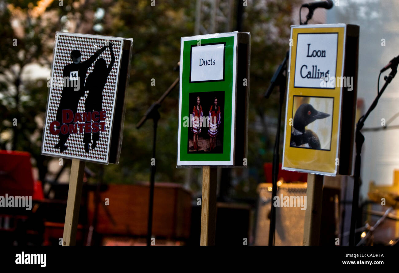 Sept. 25, 2010 - Saint Paul, Minnesota, USA - Signs at the street party held outside the Fitzgerald Theater following - Stock Image