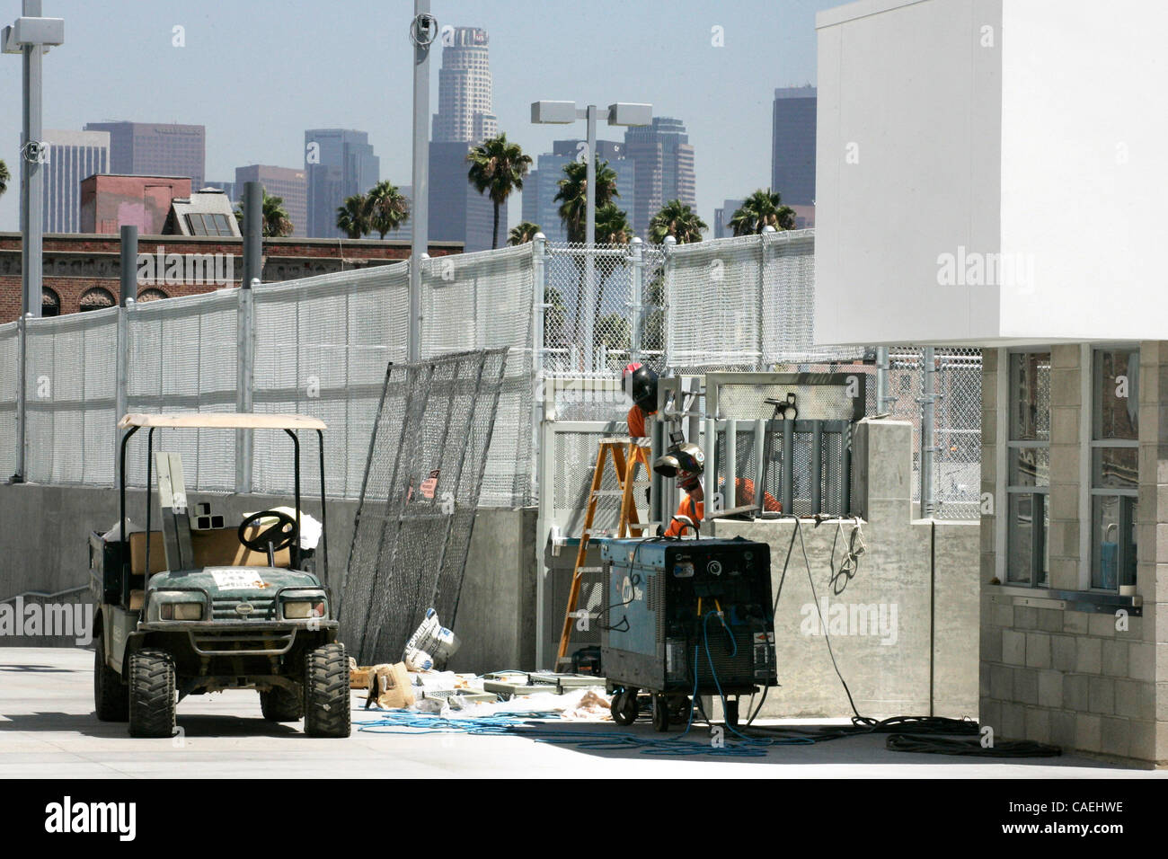 Aug. 23, 2010 - Los Angeles, California, U.S - Welders put finishing touches near the pool at the new and most expensive - Stock Image