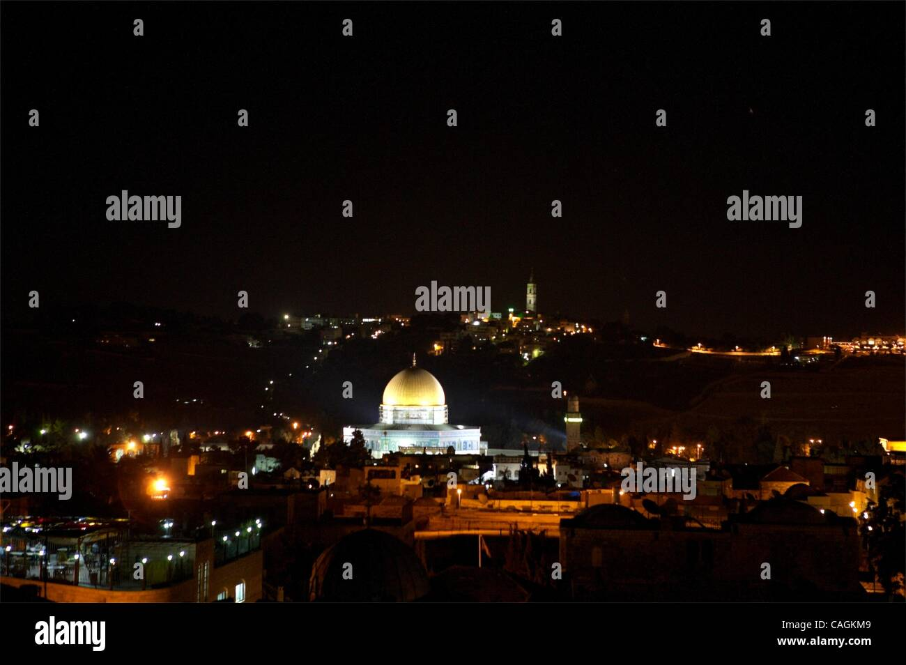 Feb 01, 2008 - Jerusalem, Israel - Mohammed Abuatarl sits for hours on the roof of the Petra Hotel, looking out - Stock Image