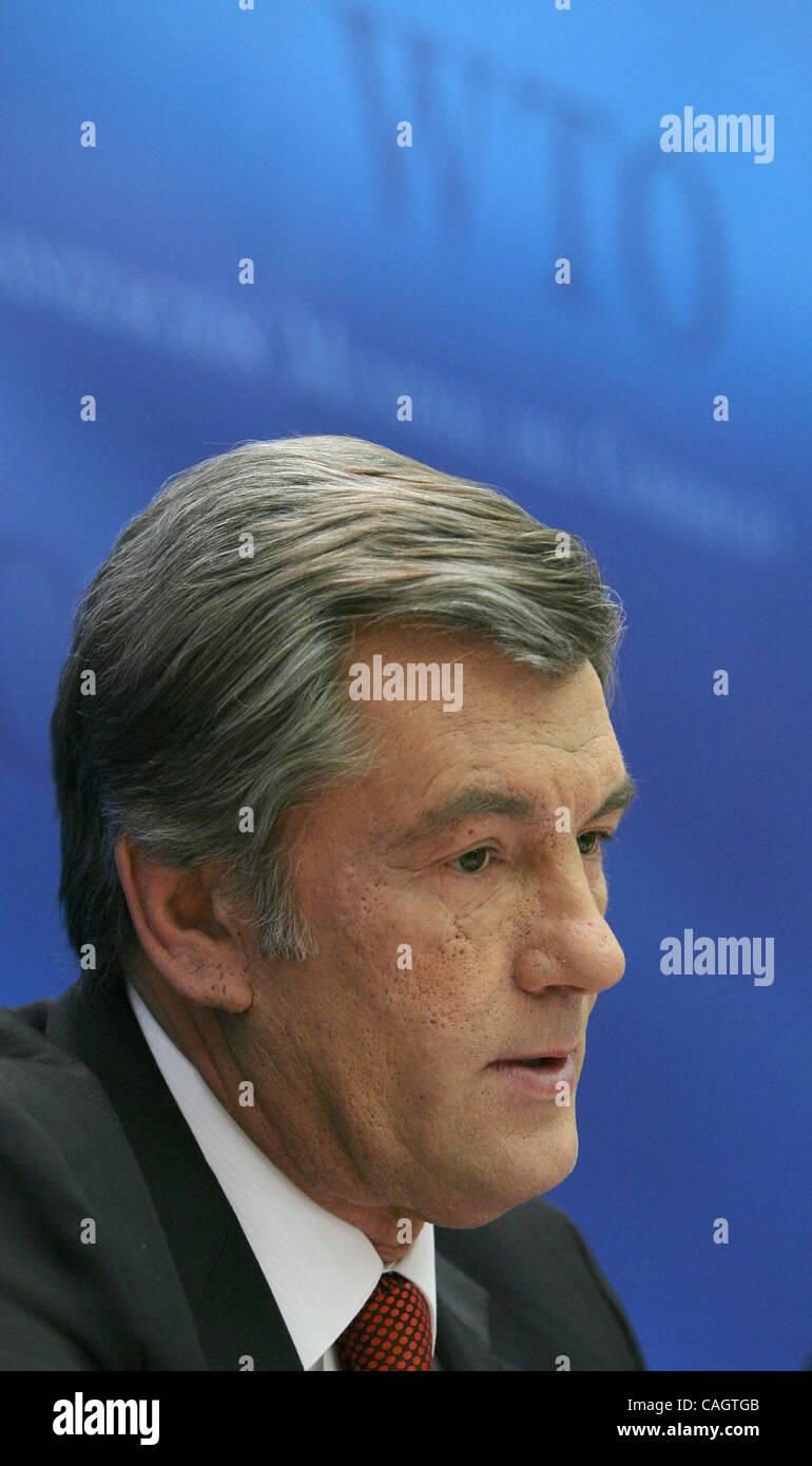 February 5, 2008, Geneve. Ukraine has joined the World Trade Organisation. Ukrainian President Viktor Yushchenko Stock Photo