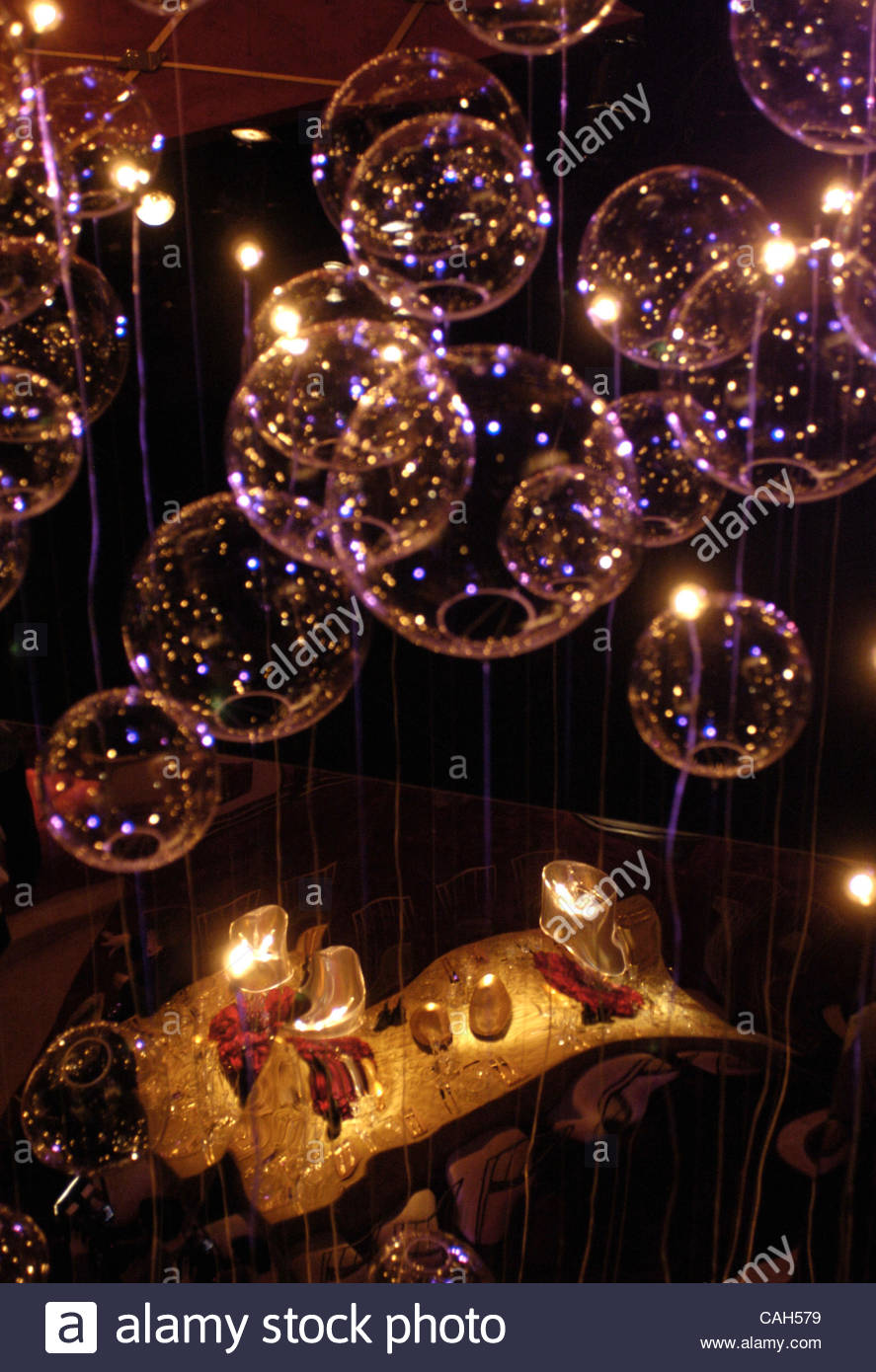 During the Governors Ball Press Preview the ceiling is decorated with glass bubbles and firefly lights float above Stock Photo
