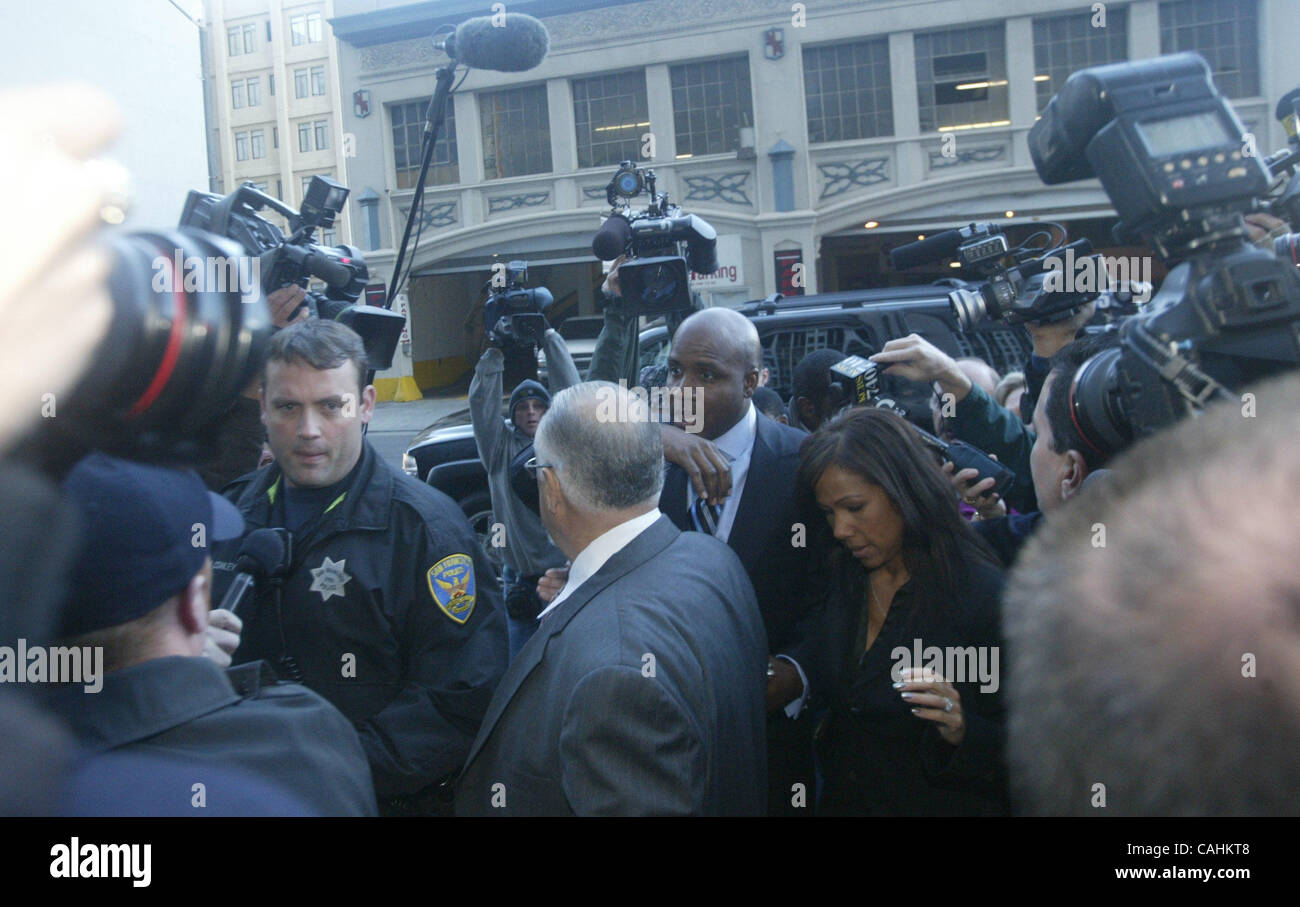 Barry Bonds arrives for his arraignment on federal perjury charges at the Phillip Burton Federal Courthouse in San - Stock Image