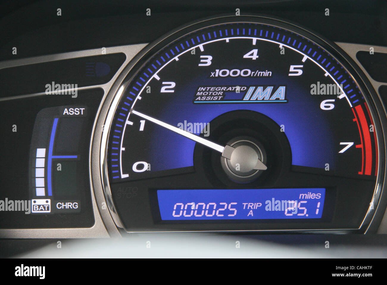 A 2008 Honda Civic hybrid has a battery gauge along with a gas gauge on its instrument panel on Friday, Dec. 7, - Stock Image