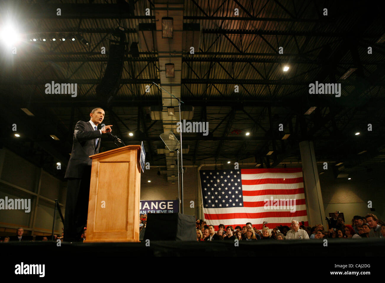 Jan 03, 2008 - Des Moines, Iowa, USA - Senator BARACK OBAMA addresses a crowd of supporters after winning the Iowa - Stock Image