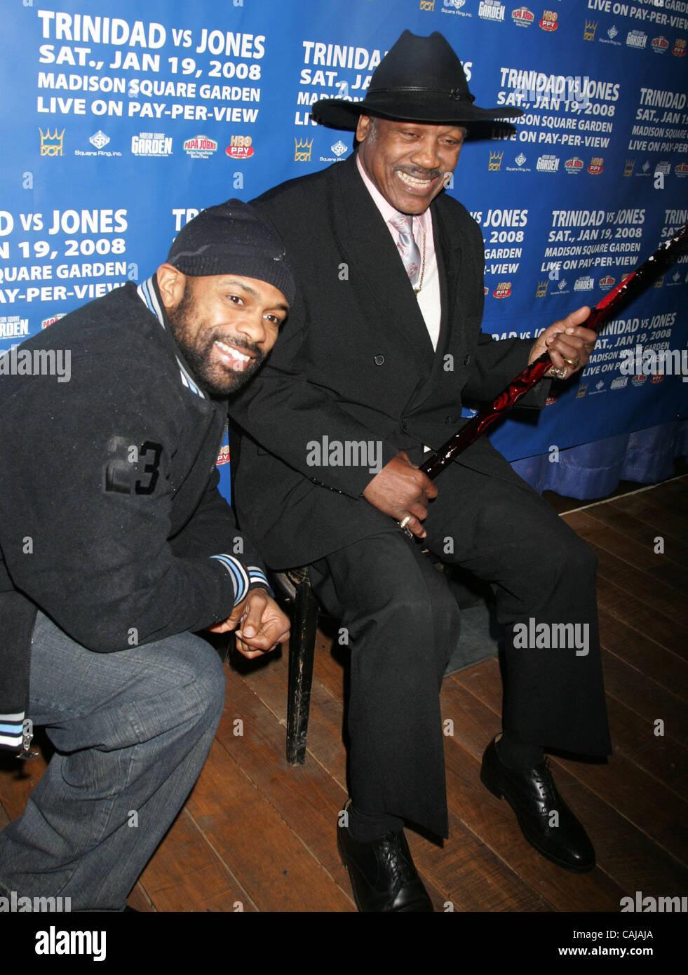 Jan 14, 2008 - New York, NY, USA - Boxer ROY JONES JR. and boxing legend  JOE FRAZIER at a cocktail party held at - Stock Image