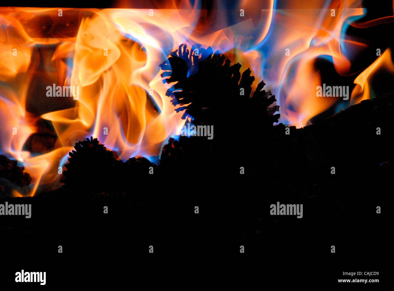 Flames from a wood fireplace insert, an option for those who want to convert their open-hearth fireplaces to a more - Stock Image