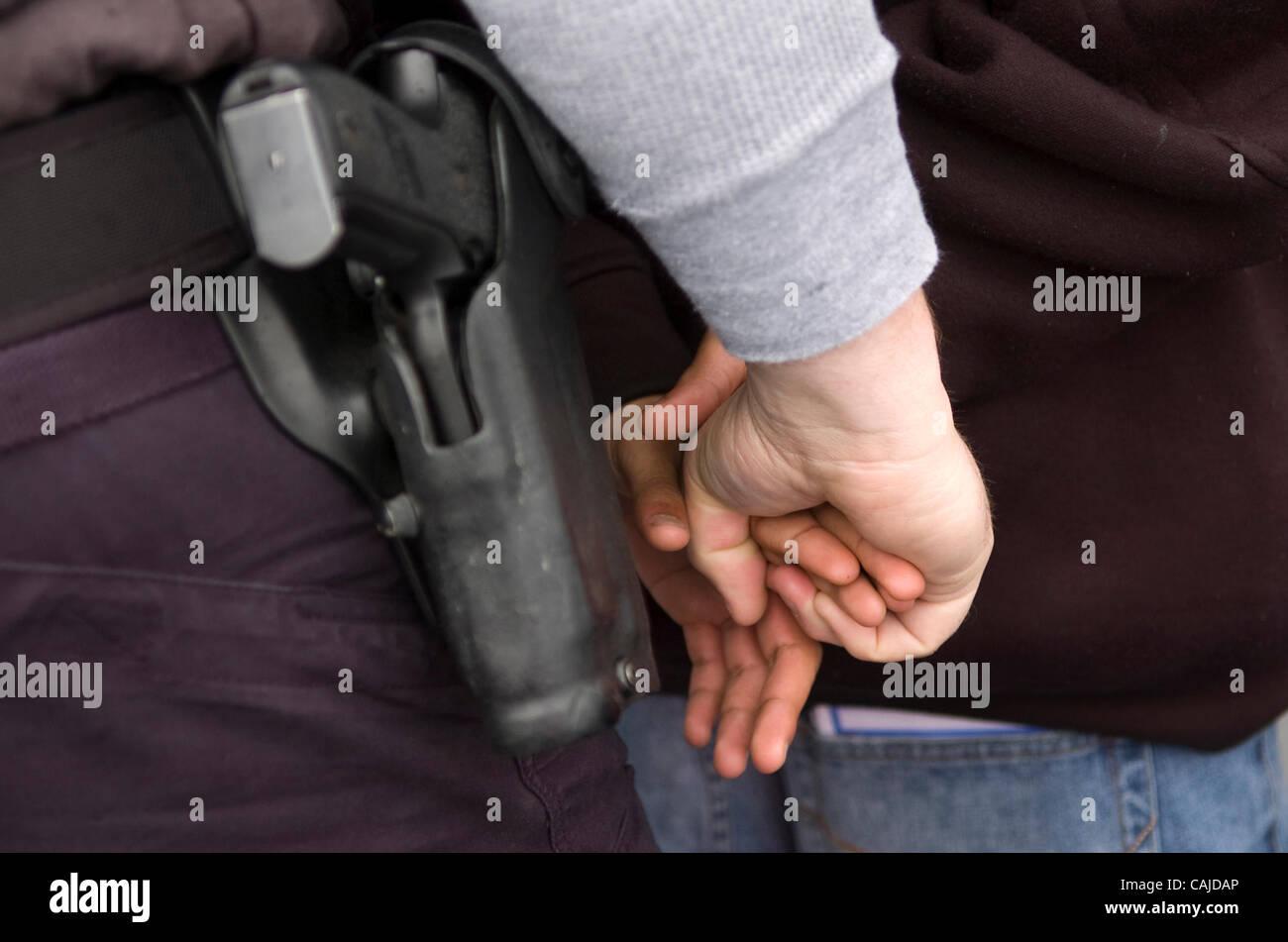 Jan 23, 2008 - Elk Grove, California, USA - Members of the Elk Grove police department street crimes unit conduct - Stock Image