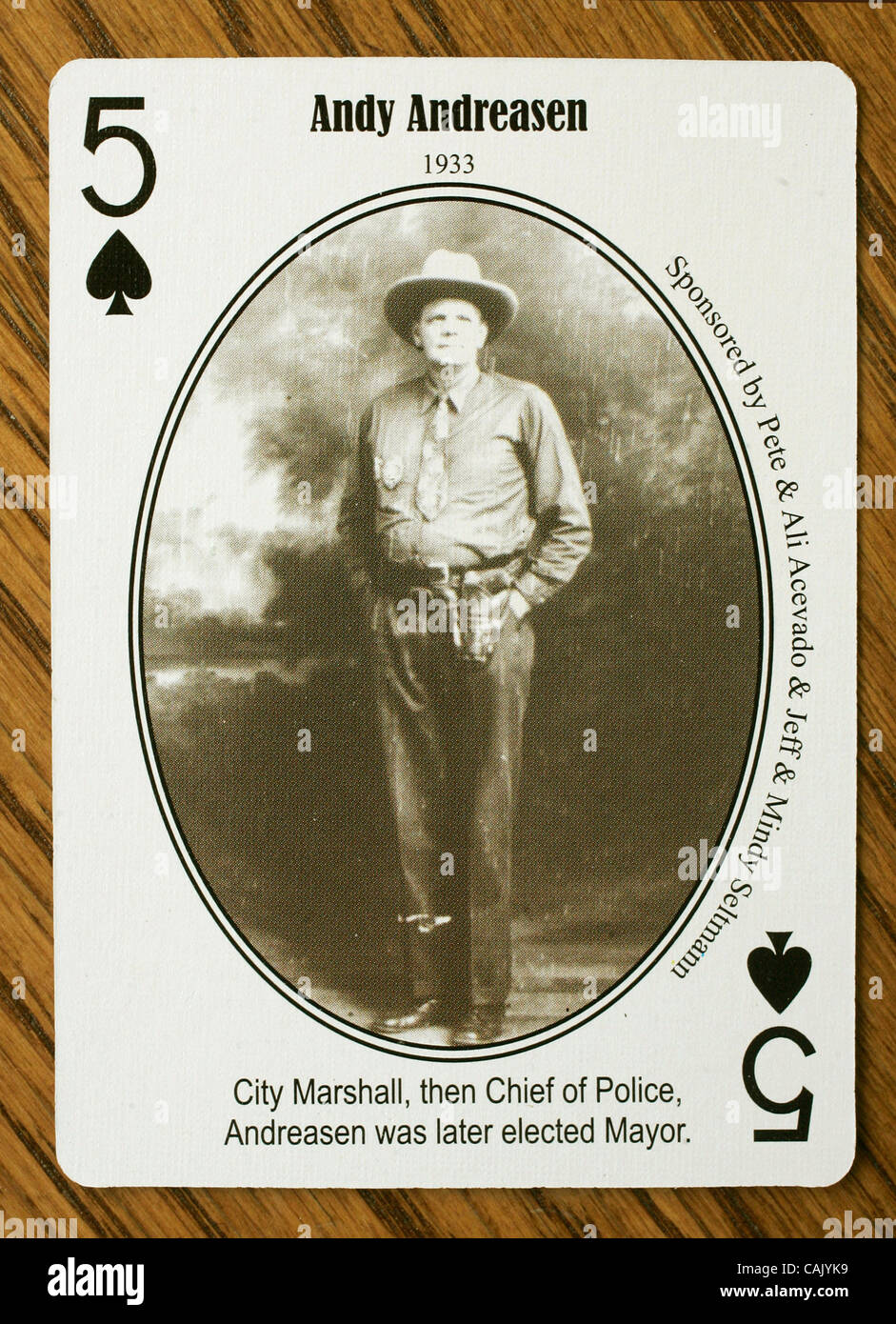 October 2, 2007, San Marcos, California, USA_Detail view of Escondido History Center playing cards that feature - Stock Image