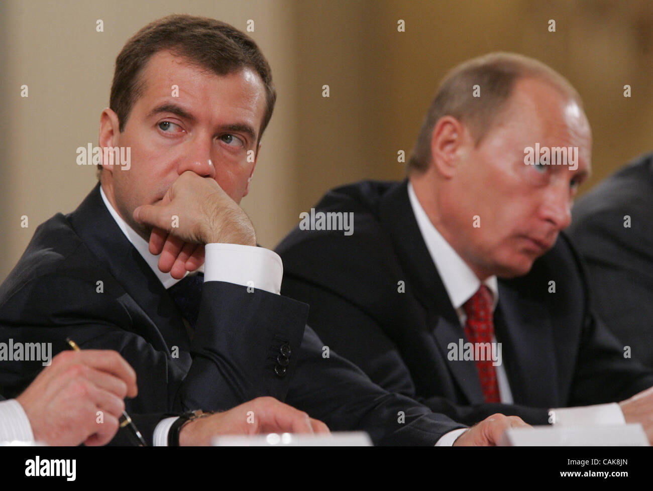 (l-r) first vice premier Dmitri Medvedev and russian president Vladimir Putin at the goverment session in Moscow Stock Photo