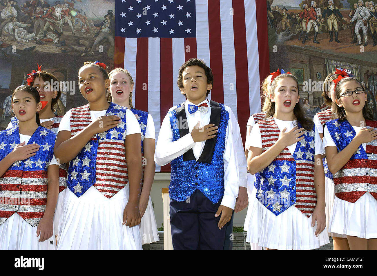 Sep. 17, 2003 - Hollywood, California, USA - Some of the ''Catch The Spirit'' Singers recite the - Stock Image