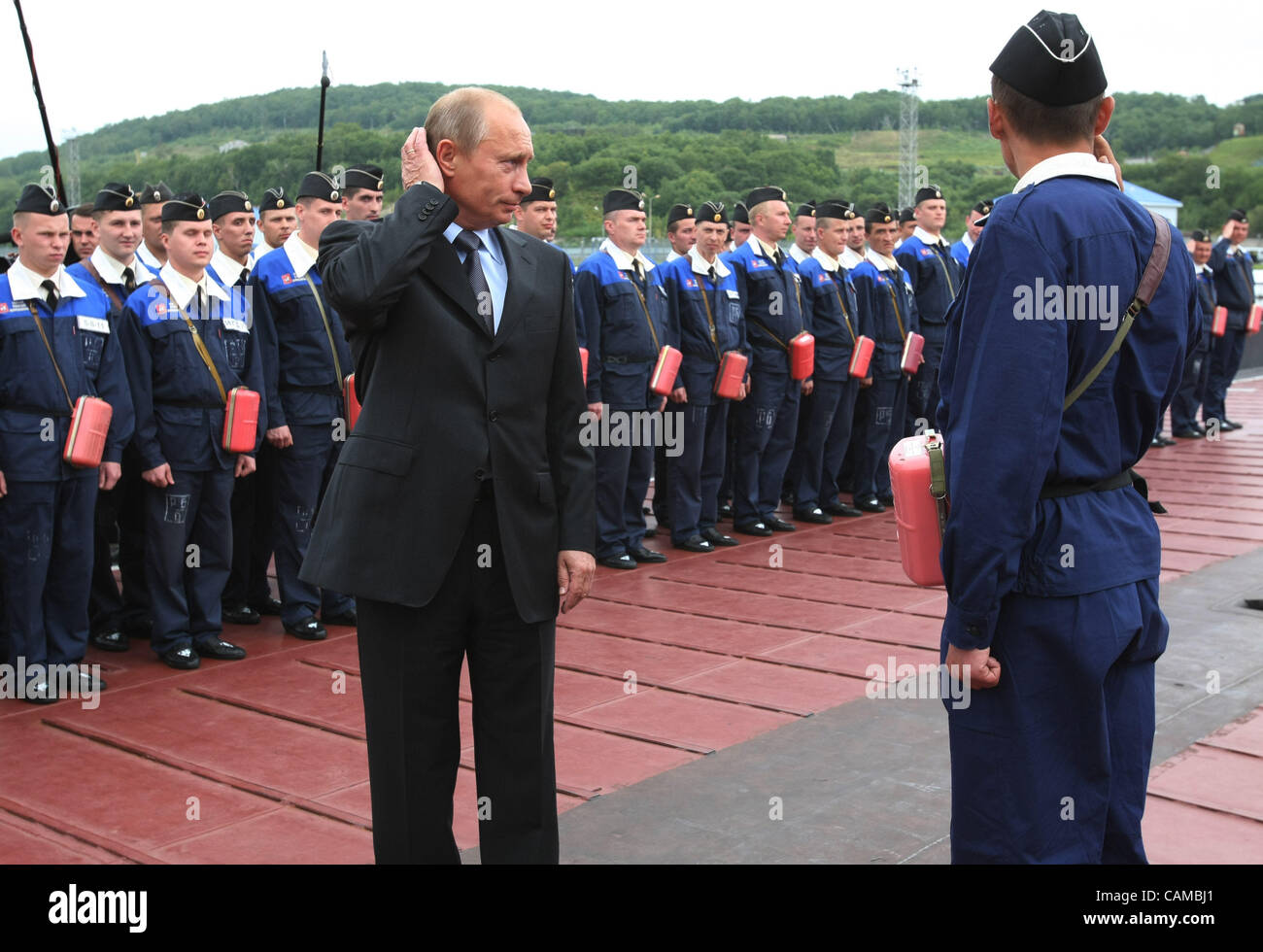 September 5, 2007,Vilyuchinsk, Kamchatka, Russia. Russian President Vladimir Putin visiting Rybachiy Russian Nuclear - Stock Image