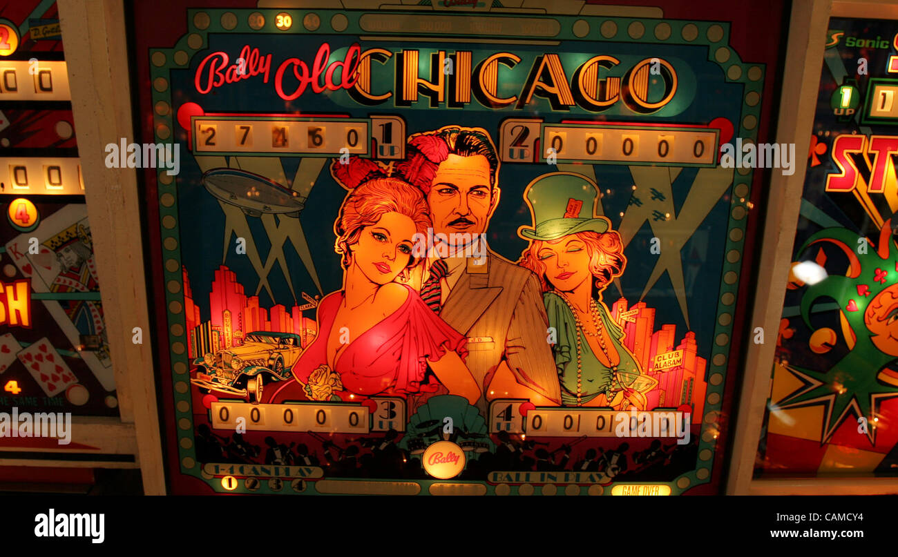 The backglass for Bally's 'Old Chicago' pinball machine features a rendering of real life outlaw John - Stock Image