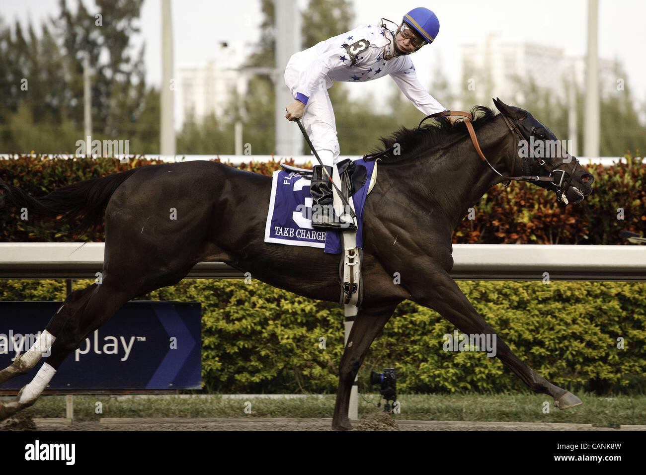 March 31, 2012 - Hallandale Beach, Florida, U.S. - Take Charge Indy with jockey Calvin Borel winning the Florida - Stock Image