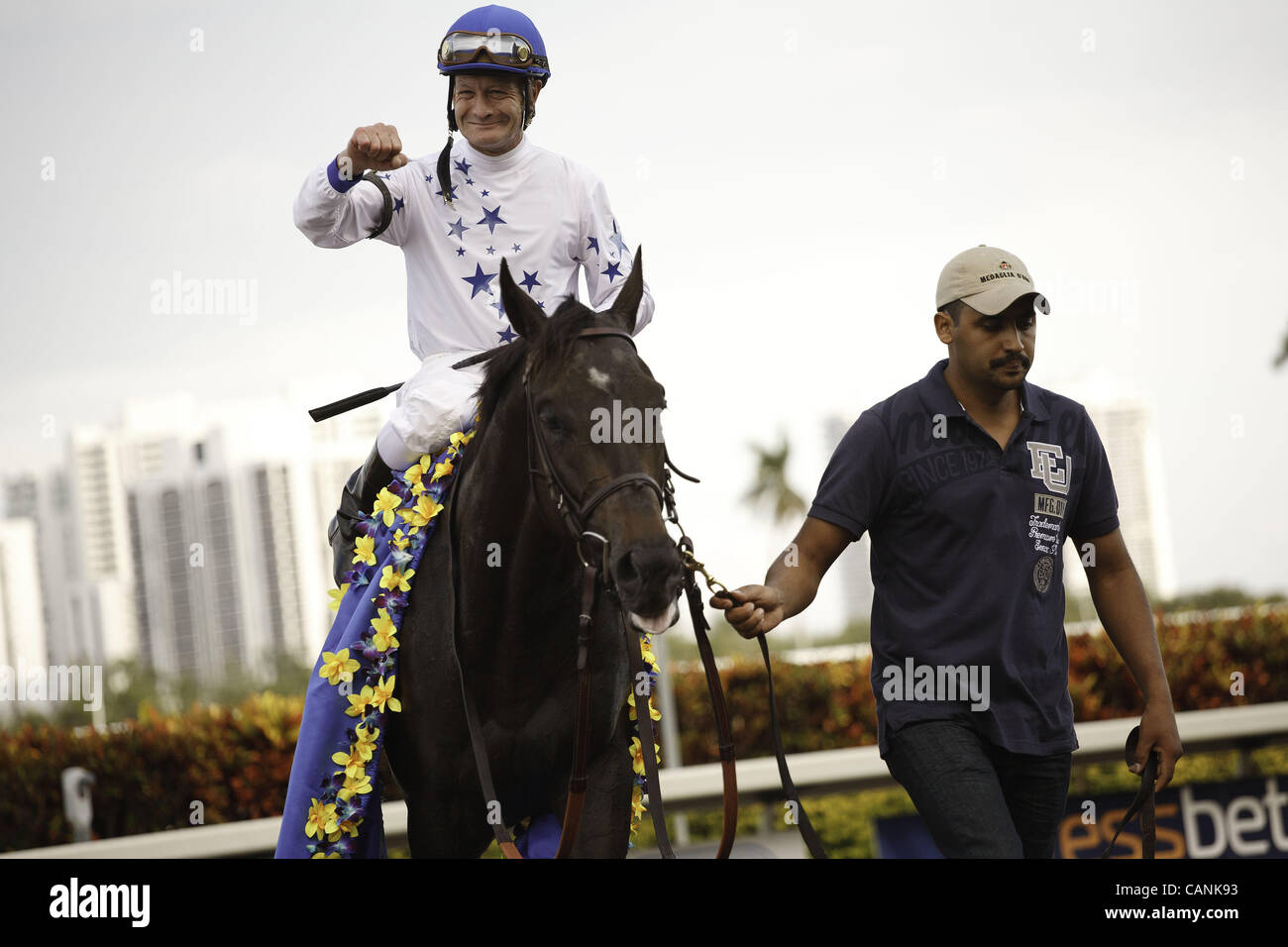 March 31, 2012 - Hallandale Beach, Florida, U.S. - Take Charge Indy with jockey Calvin Borel after winning the Florida Stock Photo