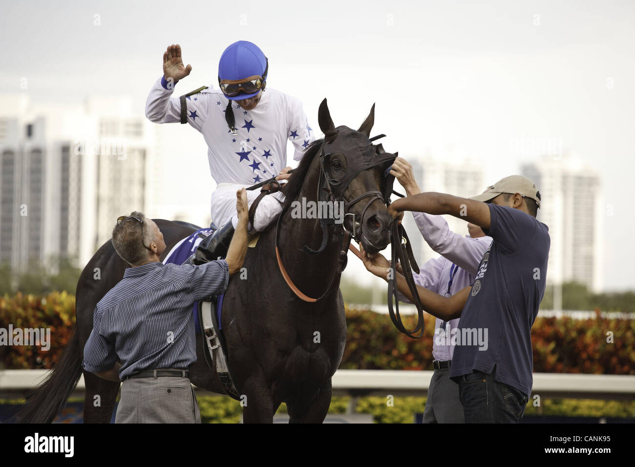 March 31, 2012 - Hallandale Beach, Florida, U.S. - Take Charge Indy with jockey Calvin Borel after winning the Florida - Stock Image