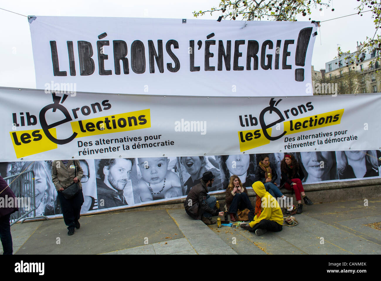 Paris, France, Environment Awareness Public Event,  'Liberons les Elections', during French Presidential - Stock Image