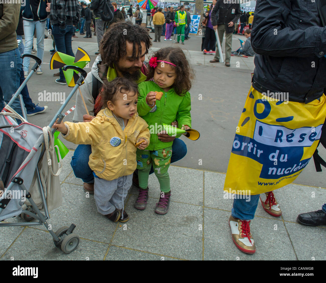 Paris, France, Environmental Awareness Public Event, 'Liberons les Elections', Anti-Nuclear Energy, during - Stock Image