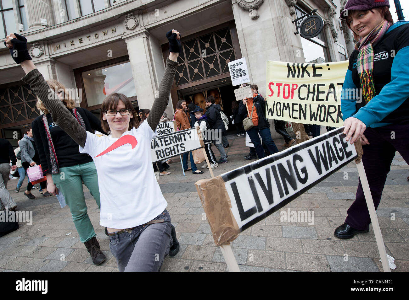 después de esto entregar Hermanos  Activists from UK Feminista protest against the exploitation of Stock Photo  - Alamy