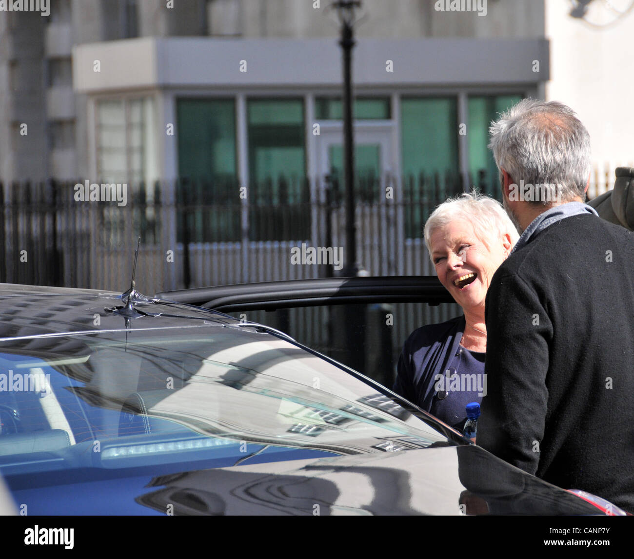 Dame Judi Dench after finishing filming a scene for Skyfall the new 007 film. Whitehall, London 1/4/12. Filming Stock Photo