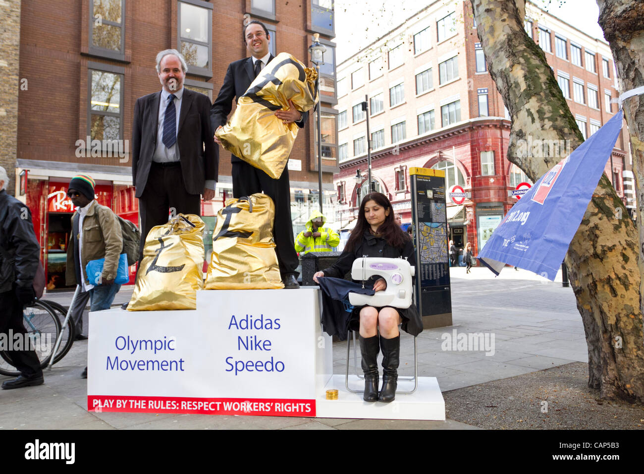 London, UK. 4th Apr 2012. (TUC)Trade Union Congress and 'Playfair' Campaigners on a podium in Covent Garden, - Stock Image
