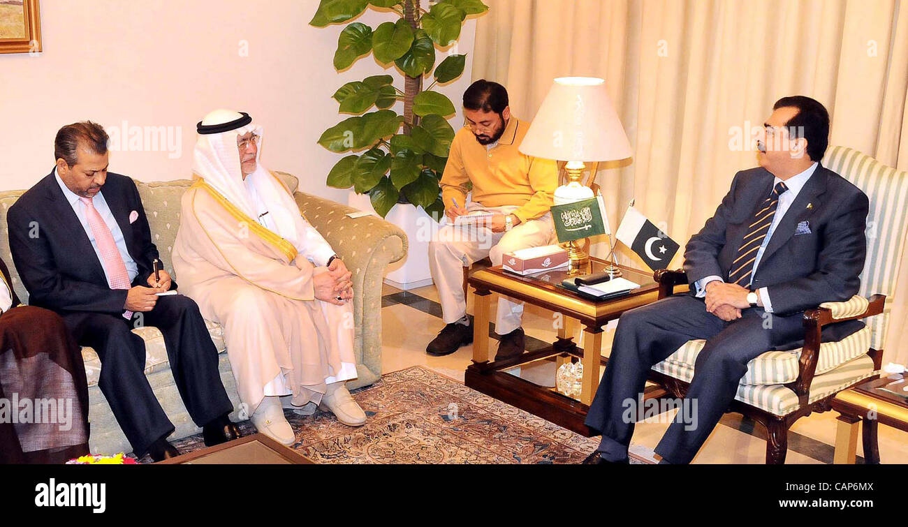 Prime Minister Syed Yousuf Raza Gilani Talks With Saudi Arabia Information And Culture Abdul Aziz Bin Mohayyuddin Khoja During Meeting At PM