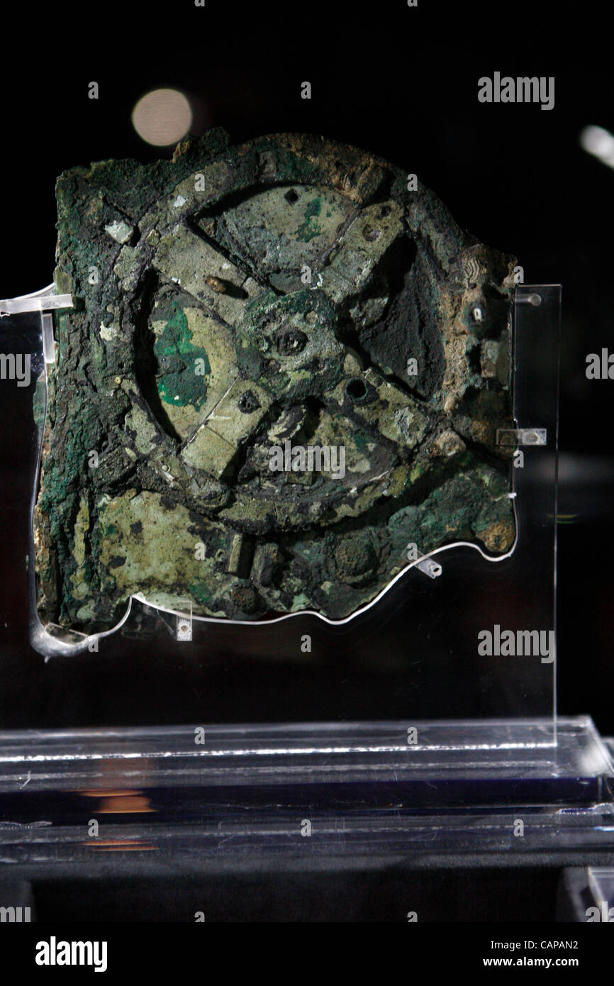 "4/4/2012 athens greece. The famous ""antikythera mechanism"" is the."