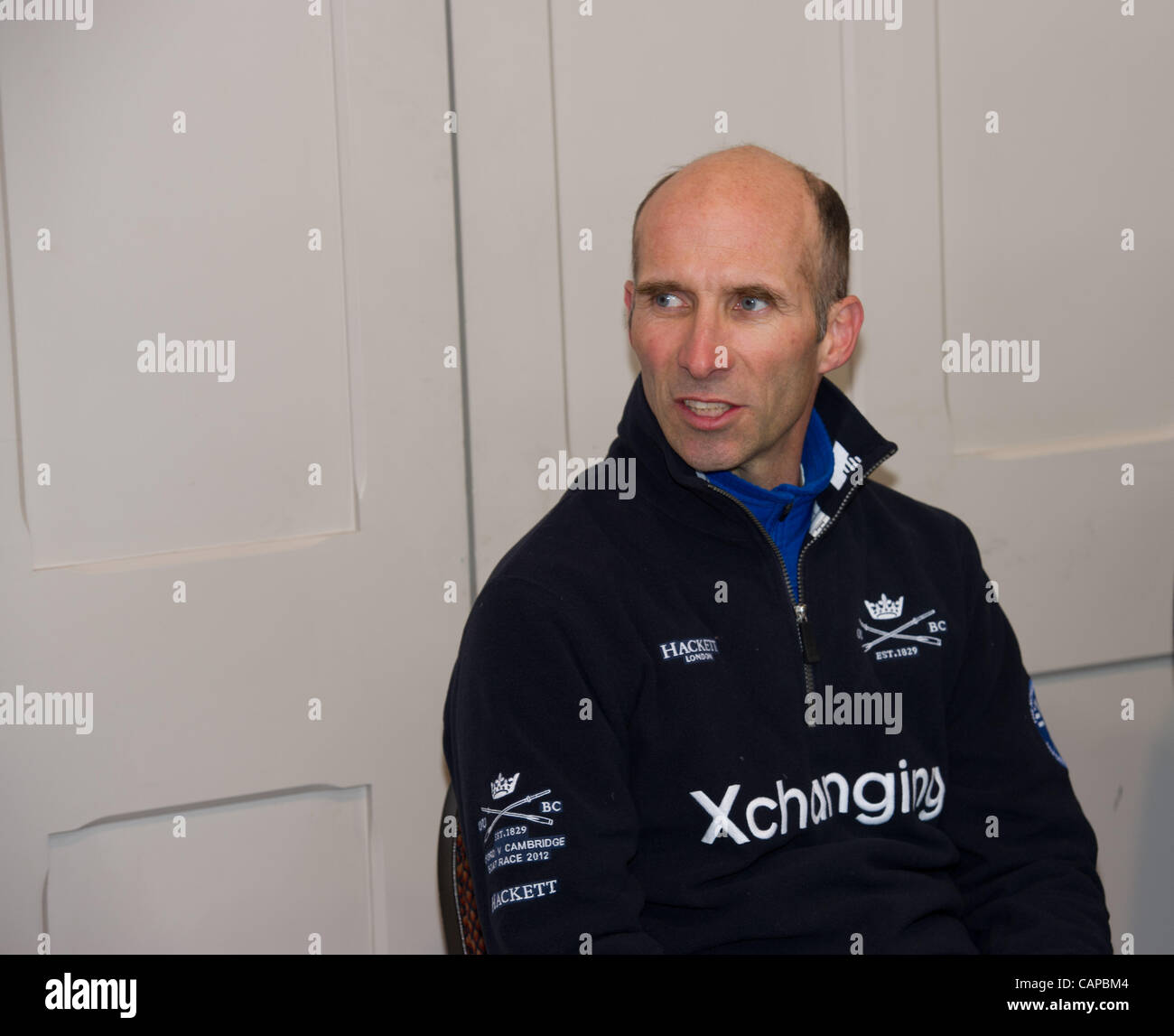 05/04/2012. The 158th Xchanging Oxford & Cambridge Universities Boat Race.  Oxford Coach Sean Bowden addresses - Stock Image